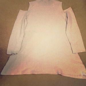 Oatmeal bare shoulders sweater tunic